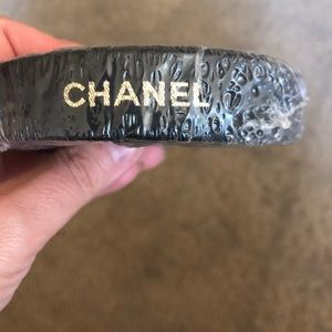 Chanel Black Satin Gold Embossed Ribbon